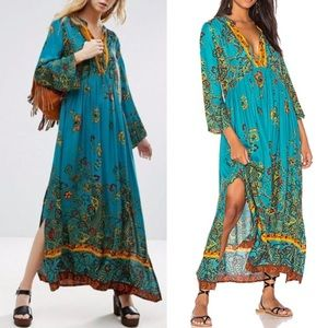 Free People Green If You Only Knew Slit Maxi Dress
